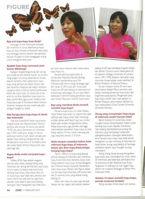 Chic Magazine 14 Februari 2007 -Dr. Djunijanti Peggie, M.Sc. - Pakar Kupu-kupu - halaman 2